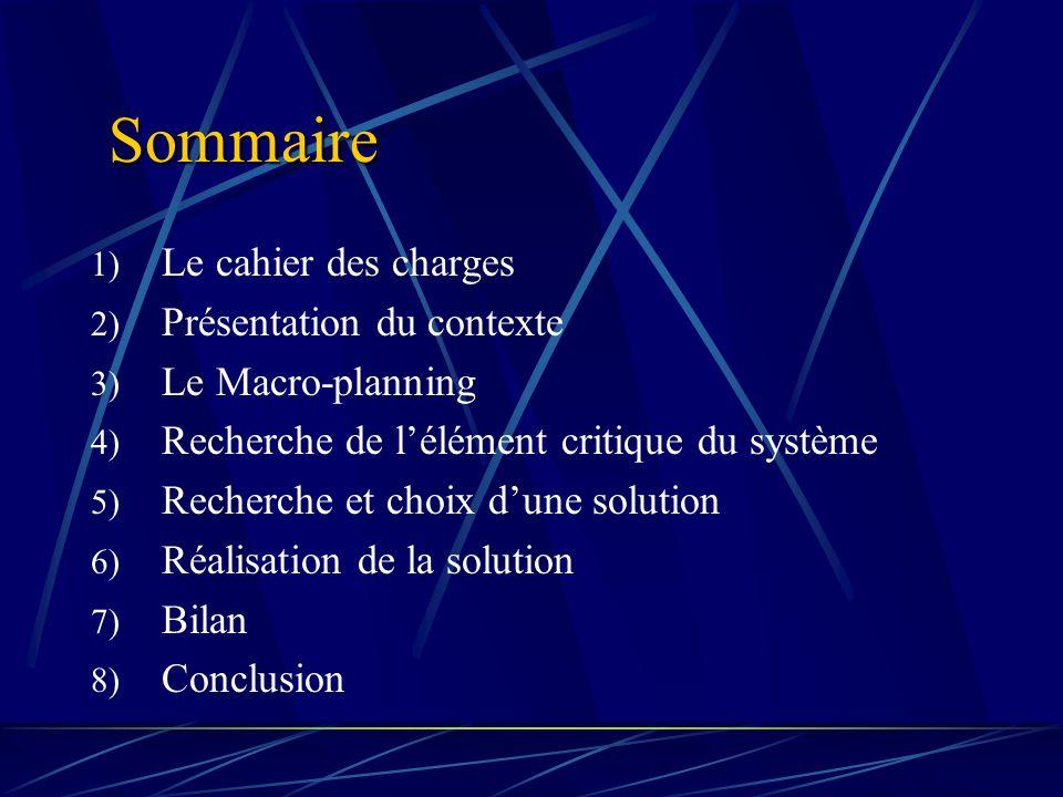 Sommaire Le cahier des charges Présentation du contexte
