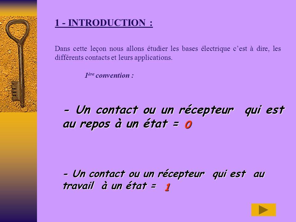 - Un contact ou un récepteur qui est au repos à un état =