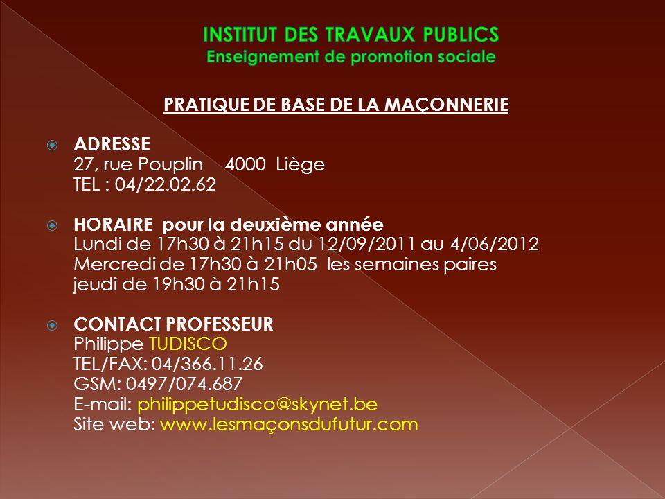 INSTITUT DES TRAVAUX PUBLICS Enseignement de promotion sociale