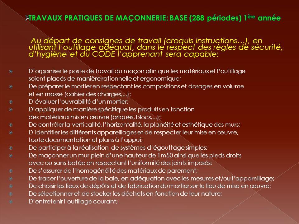 TRAVAUX PRATIQUES DE MAÇONNERIE: BASE (288 périodes) 1ère année