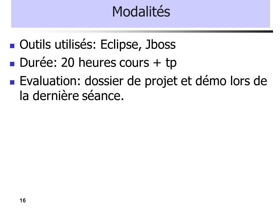 Modalités Outils utilisés: Eclipse, Jboss Durée: 20 heures cours + tp