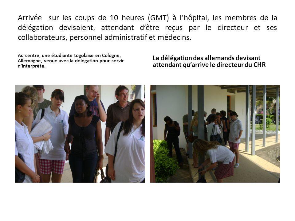 Arrivée sur les coups de 10 heures (GMT) à l'hôpital, les membres de la délégation devisaient, attendant d'être reçus par le directeur et ses collaborateurs, personnel administratif et médecins.