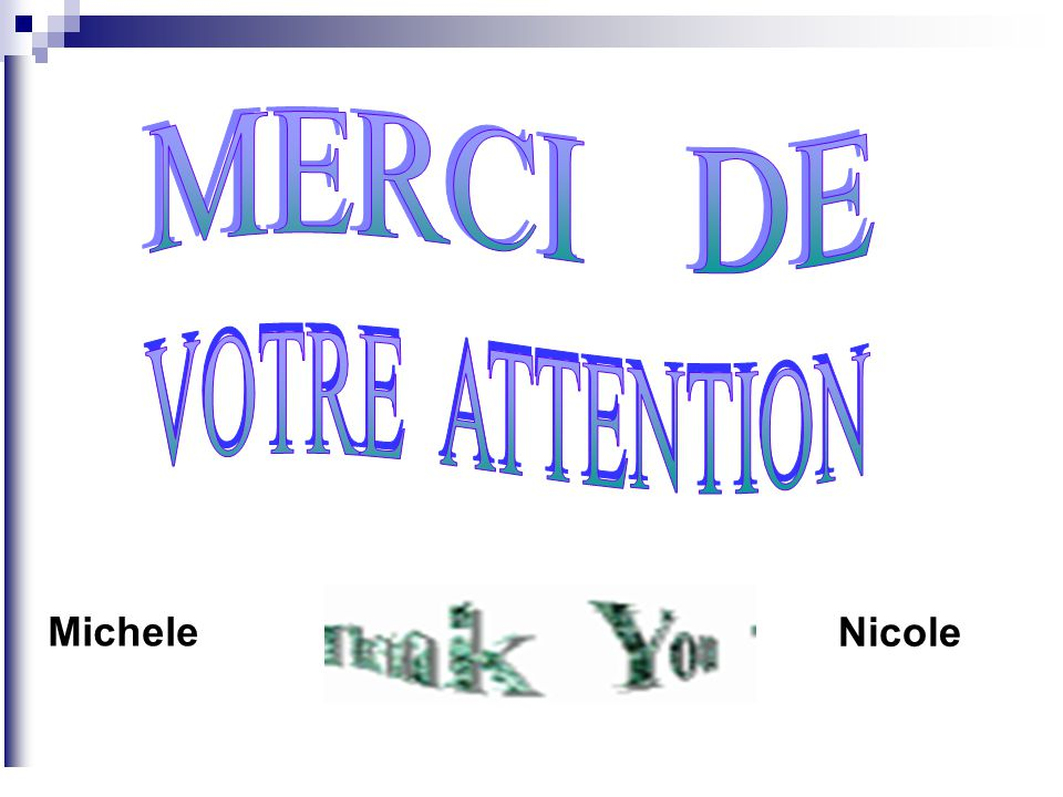 MERCI DE VOTRE ATTENTION Michele Nicole