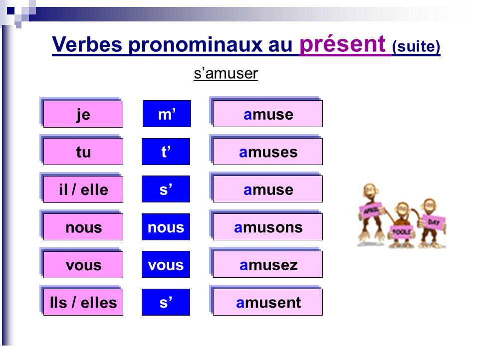 Verbes pronominaux au présent (suite)