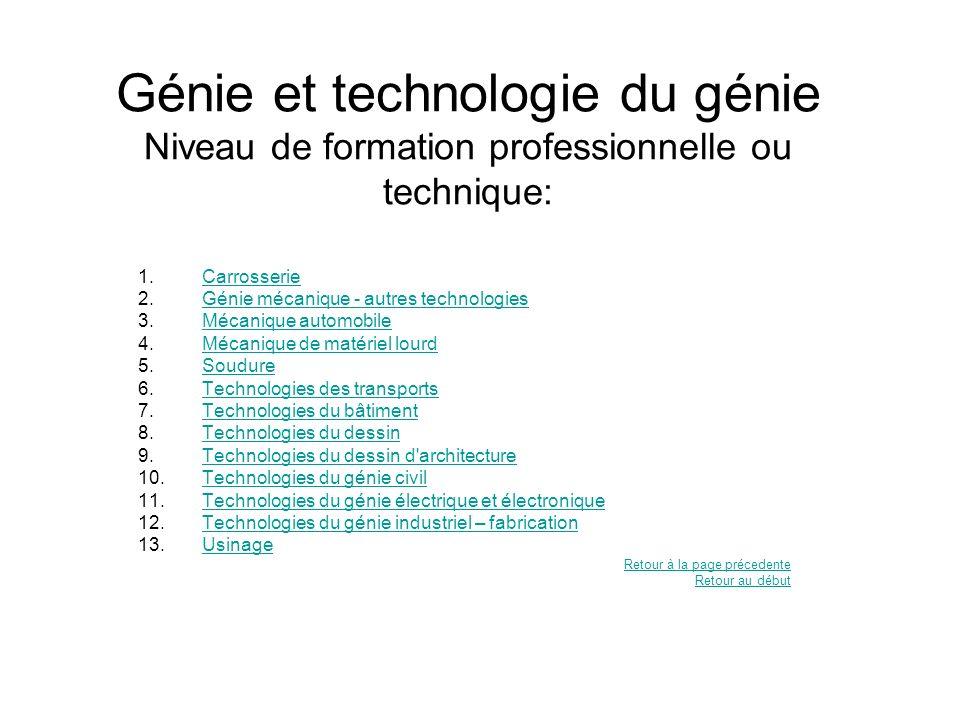 Génie et technologie du génie Niveau de formation professionnelle ou technique: