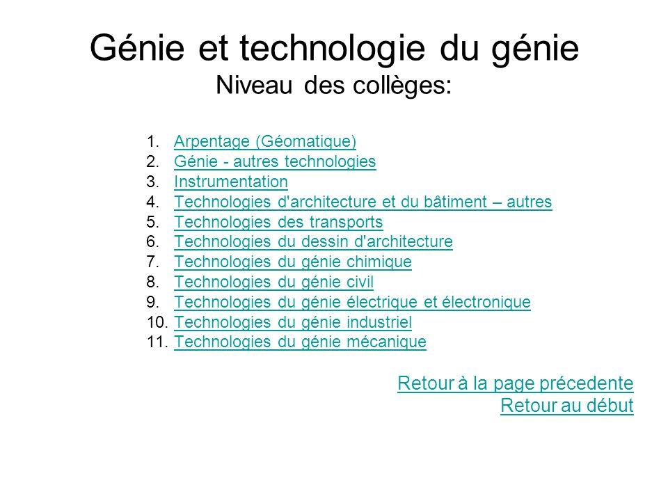Génie et technologie du génie Niveau des collèges: