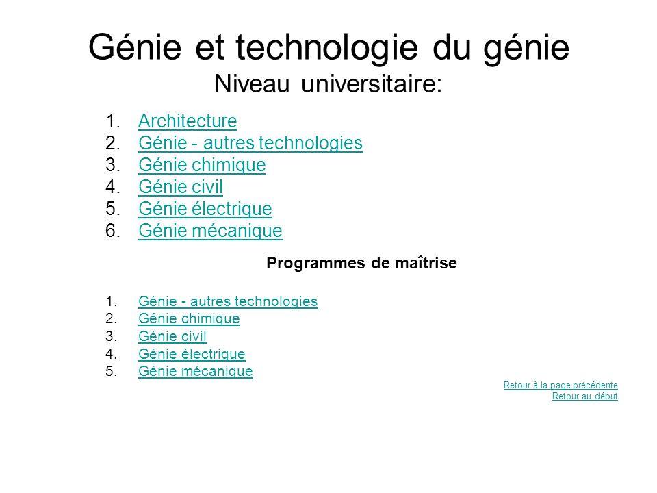 Génie et technologie du génie Niveau universitaire: