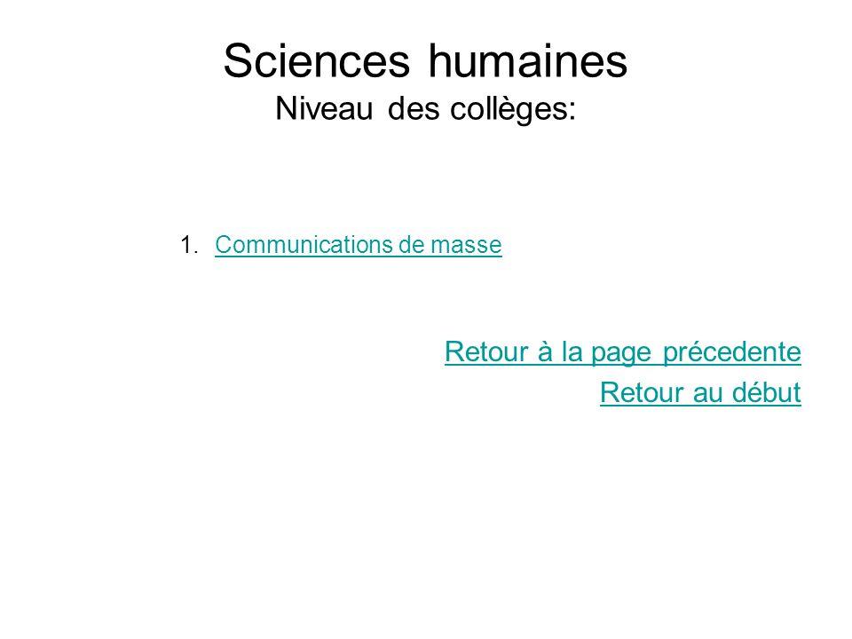 Sciences humaines Niveau des collèges: