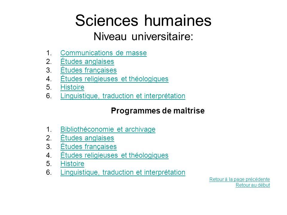 Sciences humaines Niveau universitaire: