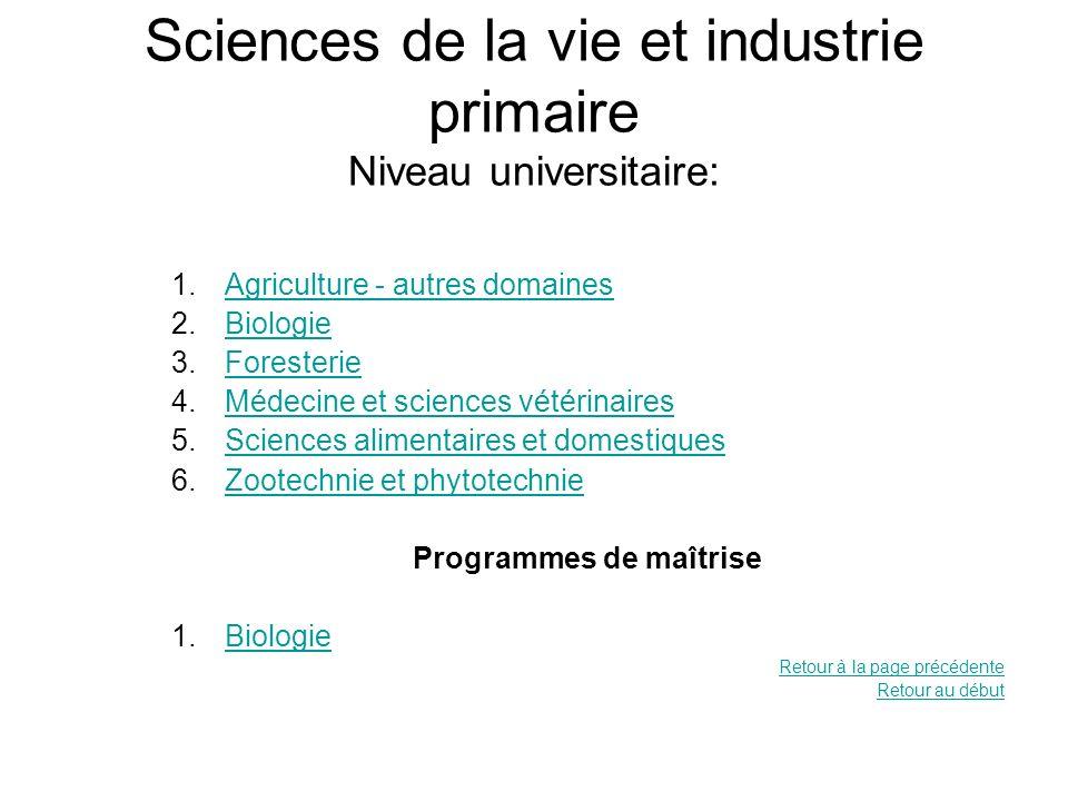Sciences de la vie et industrie primaire Niveau universitaire: