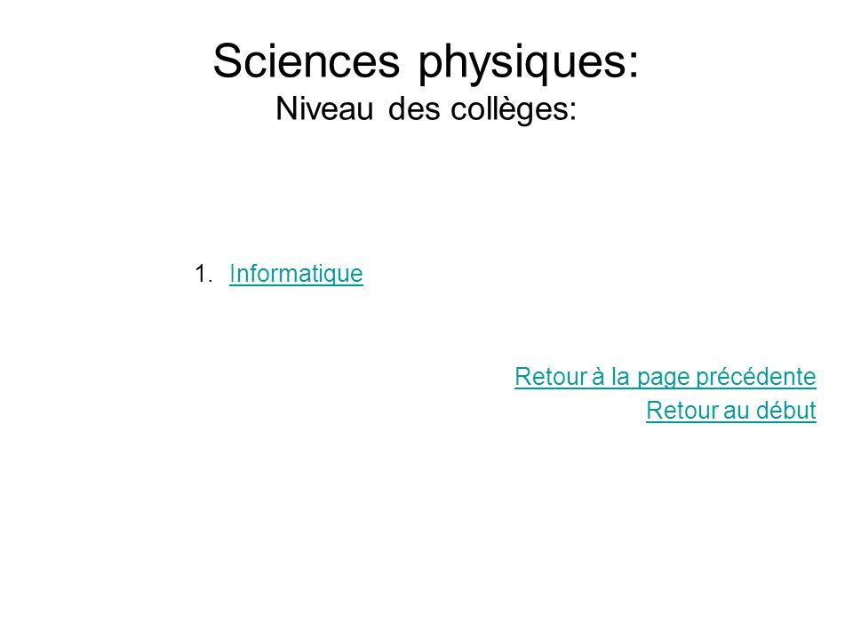 Sciences physiques: Niveau des collèges: