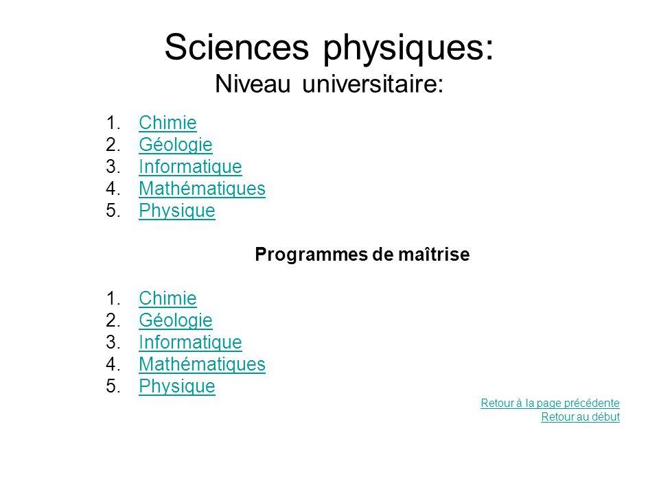 Sciences physiques: Niveau universitaire: