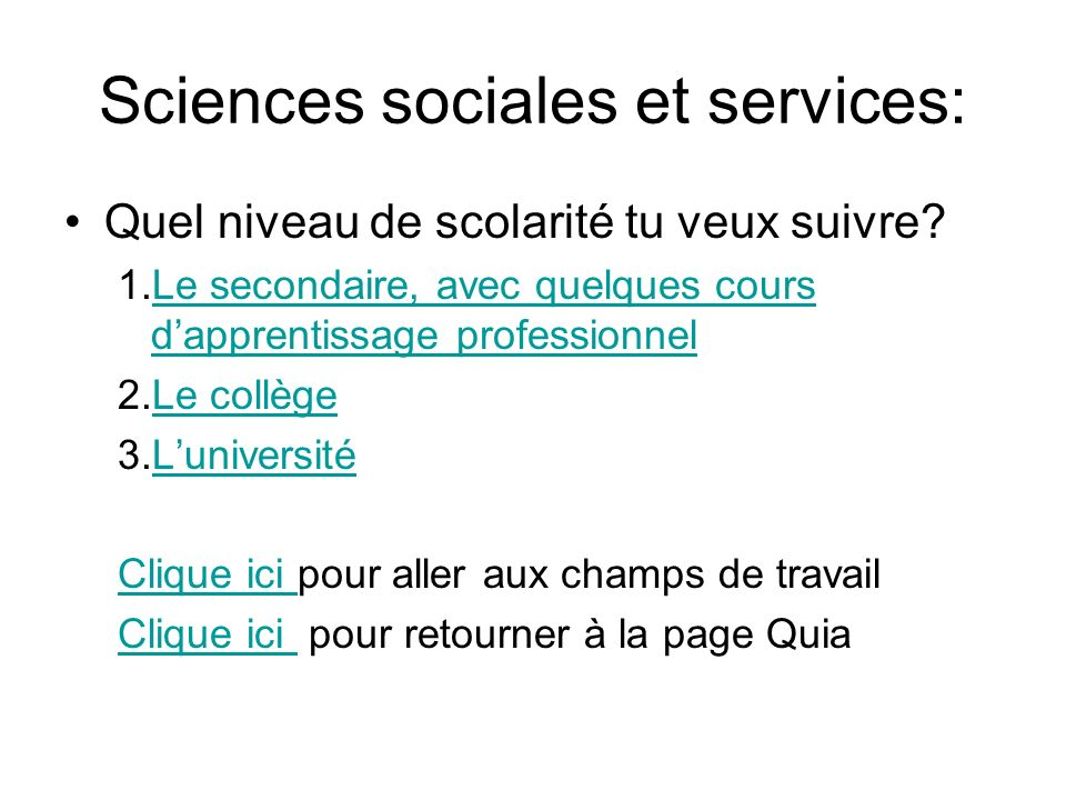 Sciences sociales et services: