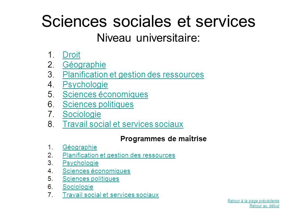 Sciences sociales et services Niveau universitaire:
