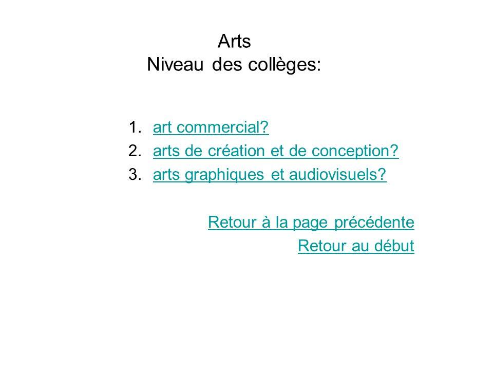 Arts Niveau des collèges: