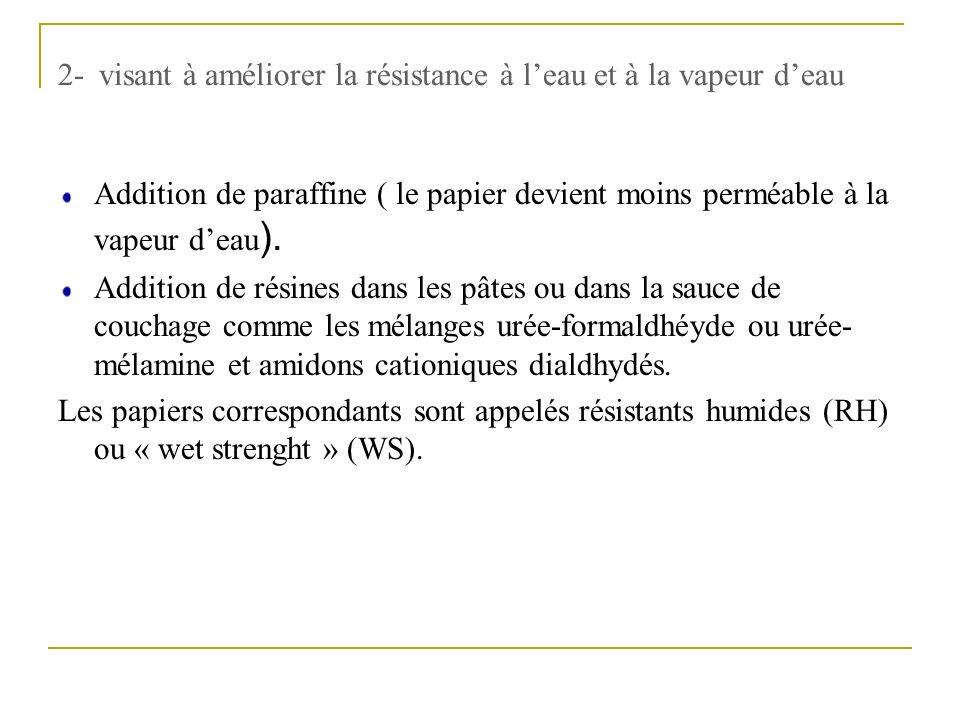 2- visant à améliorer la résistance à l'eau et à la vapeur d'eau