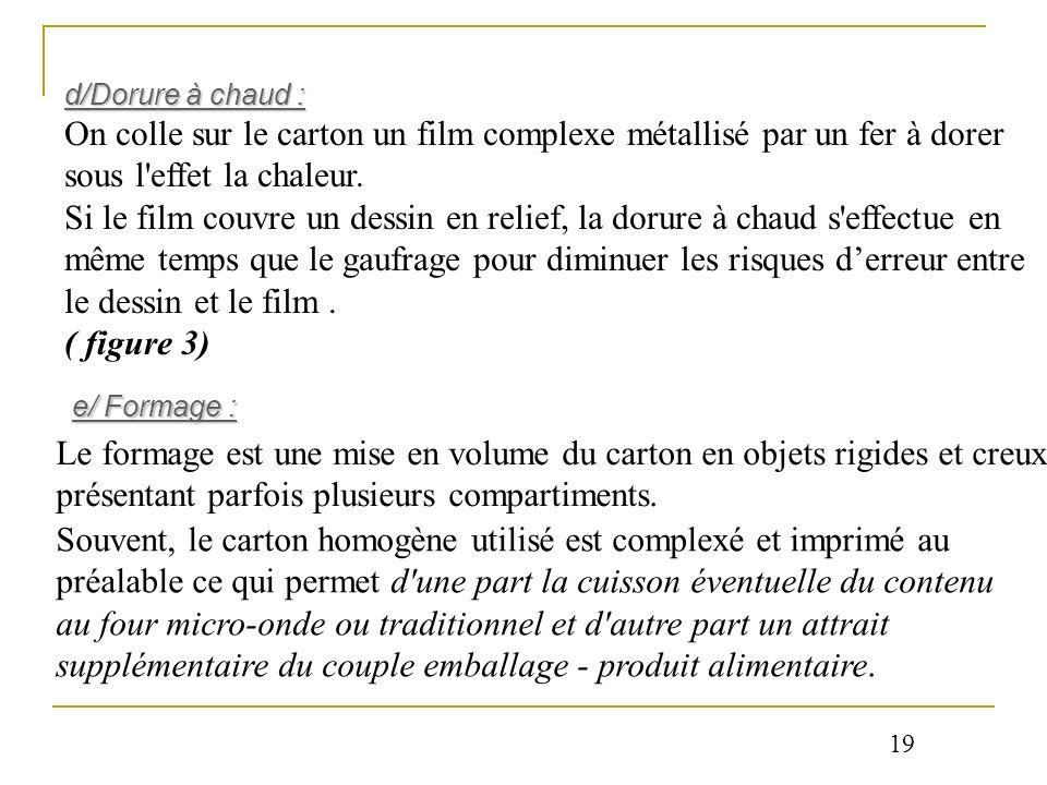 d/Dorure à chaud : On colle sur le carton un film complexe métallisé par un fer à dorer sous l effet la chaleur.