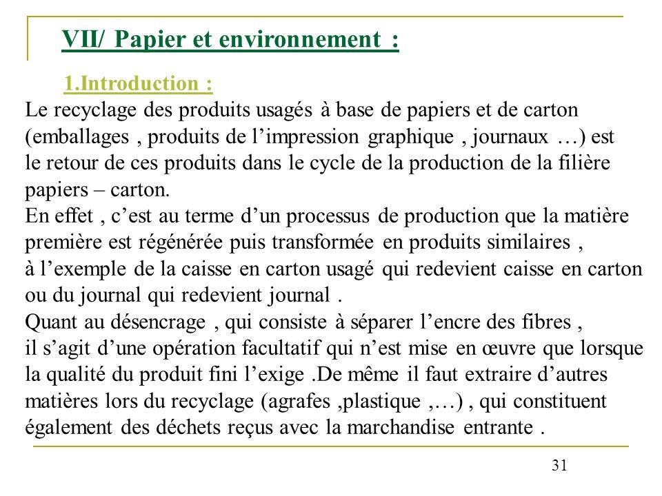 VII/ Papier et environnement :