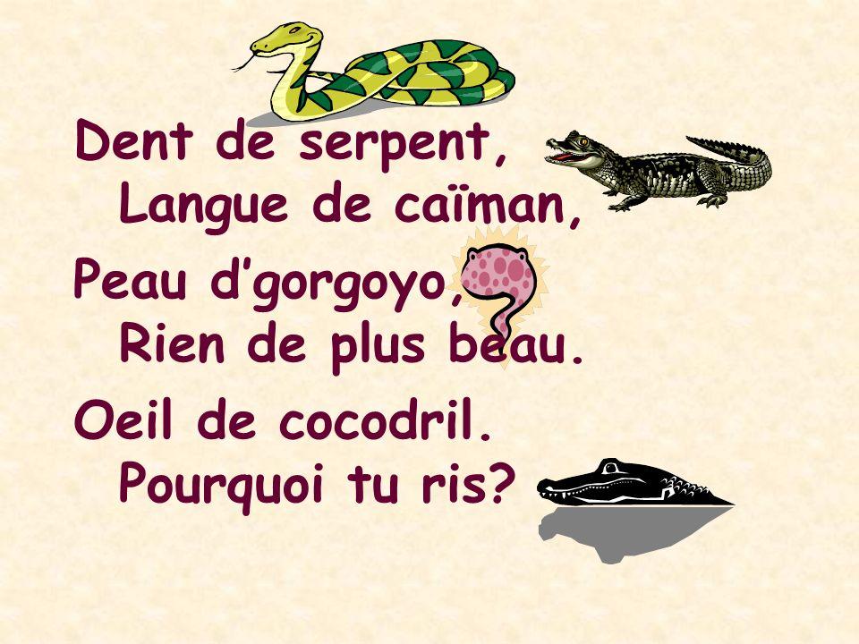 Dent de serpent,. Langue de caïman, Peau d'gorgoyo, Rien de plus beau