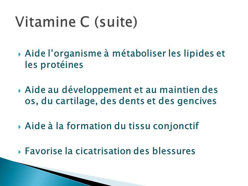 Vitamine C (suite) Aide l'organisme à métaboliser les lipides et les protéines.