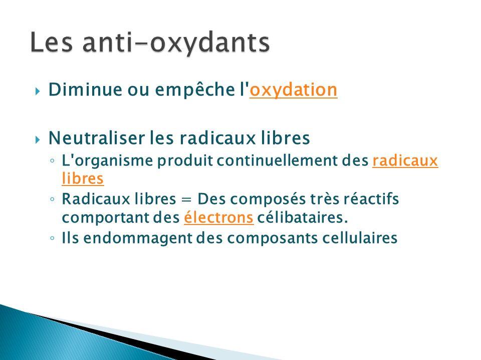 Les anti-oxydants Diminue ou empêche l oxydation