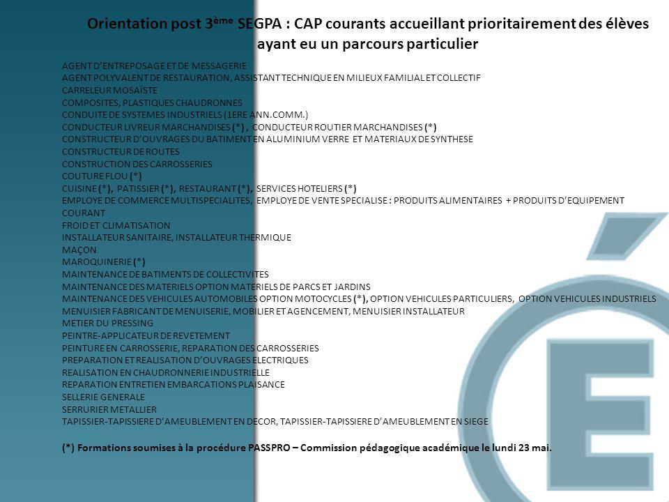 Orientation post 3ème SEGPA : CAP courants accueillant prioritairement des élèves ayant eu un parcours particulier
