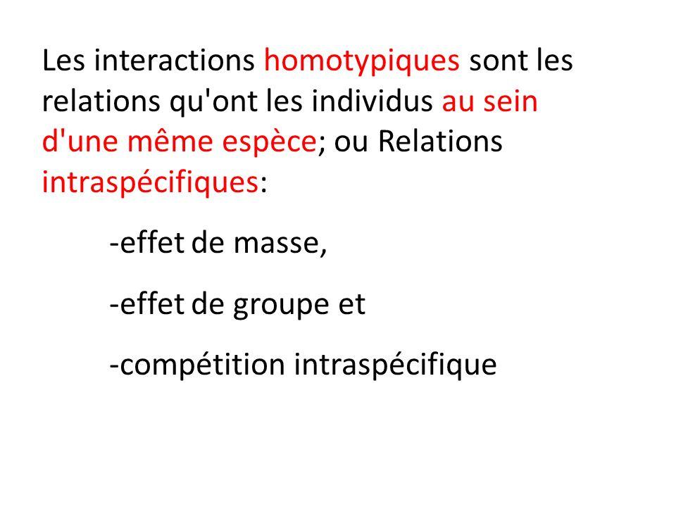 Les interactions homotypiques sont les relations qu ont les individus au sein d une même espèce; ou Relations intraspécifiques: