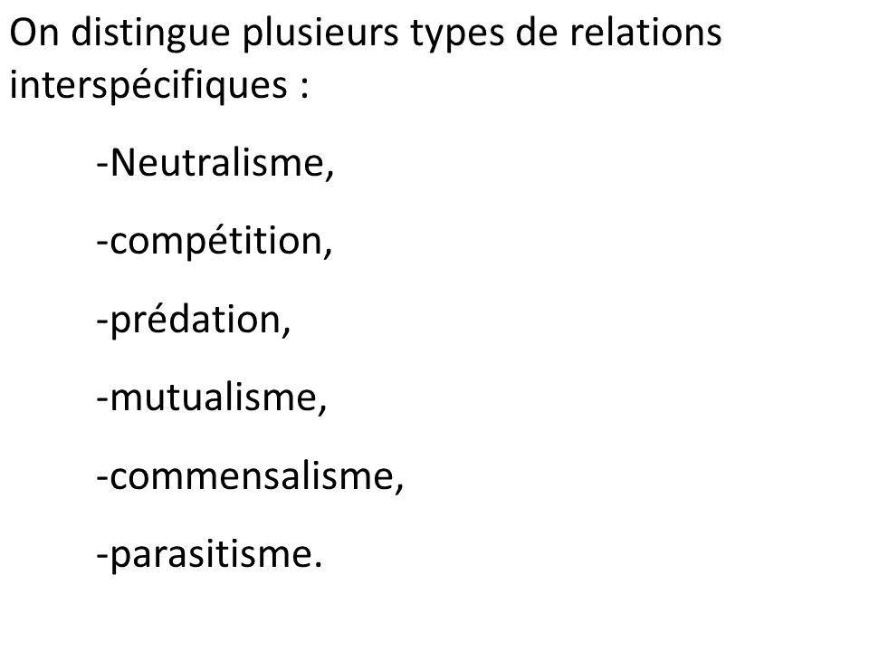 On distingue plusieurs types de relations interspécifiques :