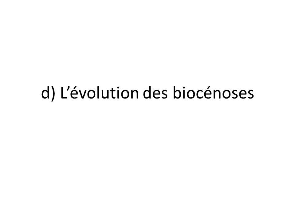 d) L'évolution des biocénoses