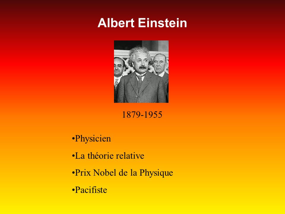 Albert Einstein 1879-1955 Physicien La théorie relative