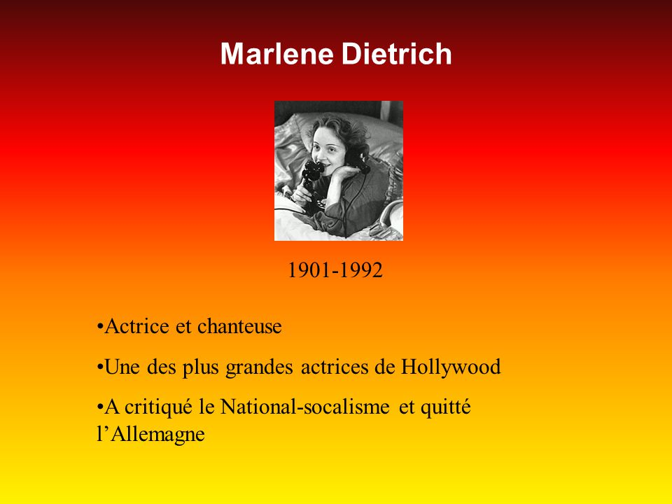 Marlene Dietrich 1901-1992 Actrice et chanteuse