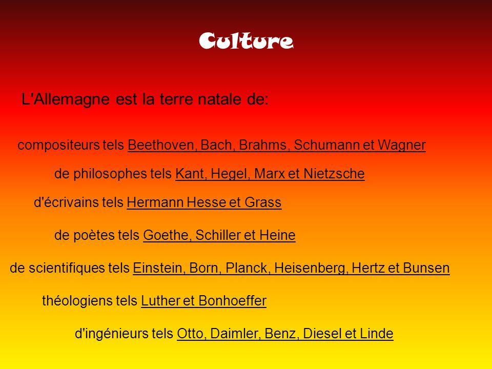 Culture L Allemagne est la terre natale de: