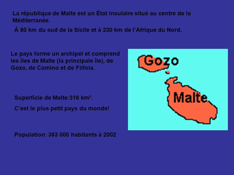 La république de Malte est un État insulaire situé au centre de la Méditerranée.