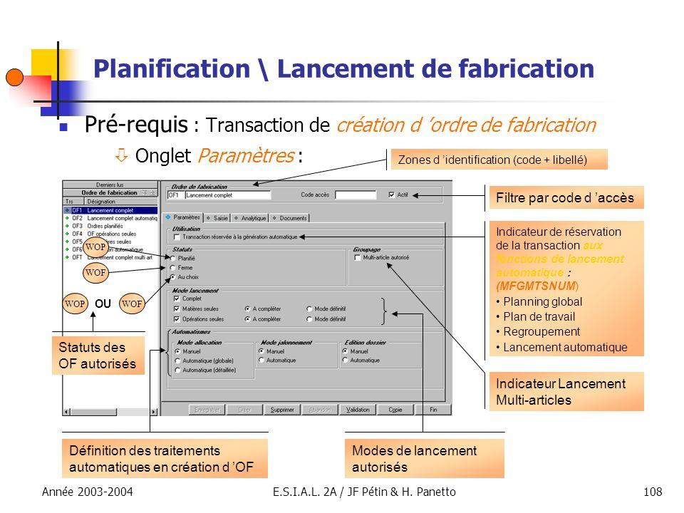 Planification \ Lancement de fabrication