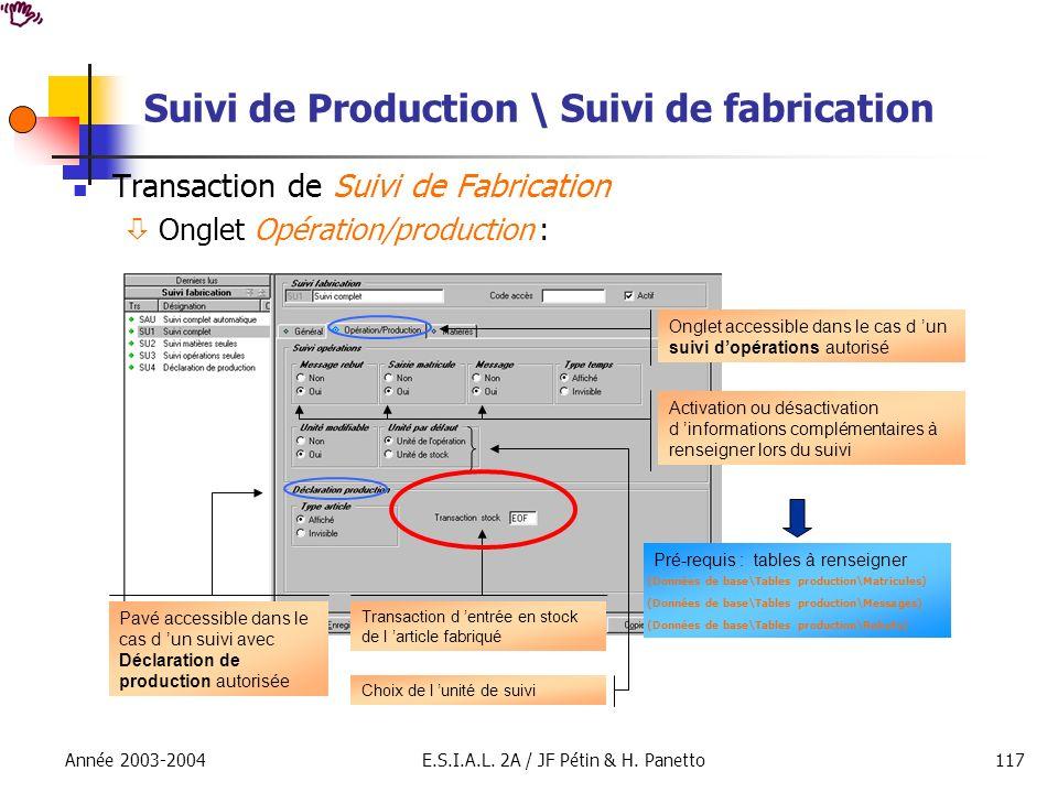 Suivi de Production \ Suivi de fabrication
