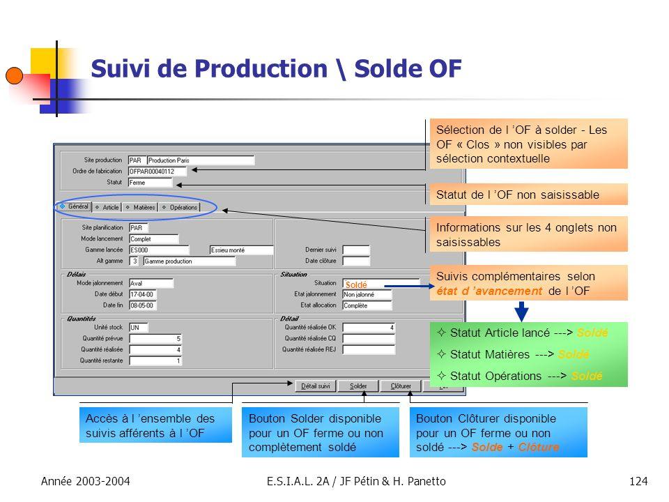 Suivi de Production \ Solde OF