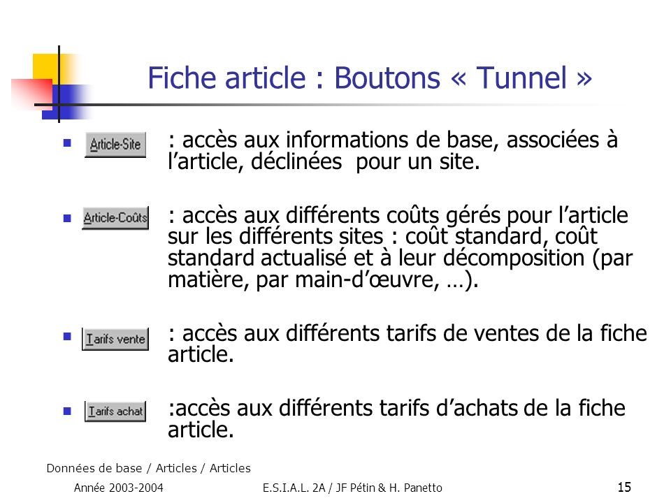Fiche article : Boutons « Tunnel »