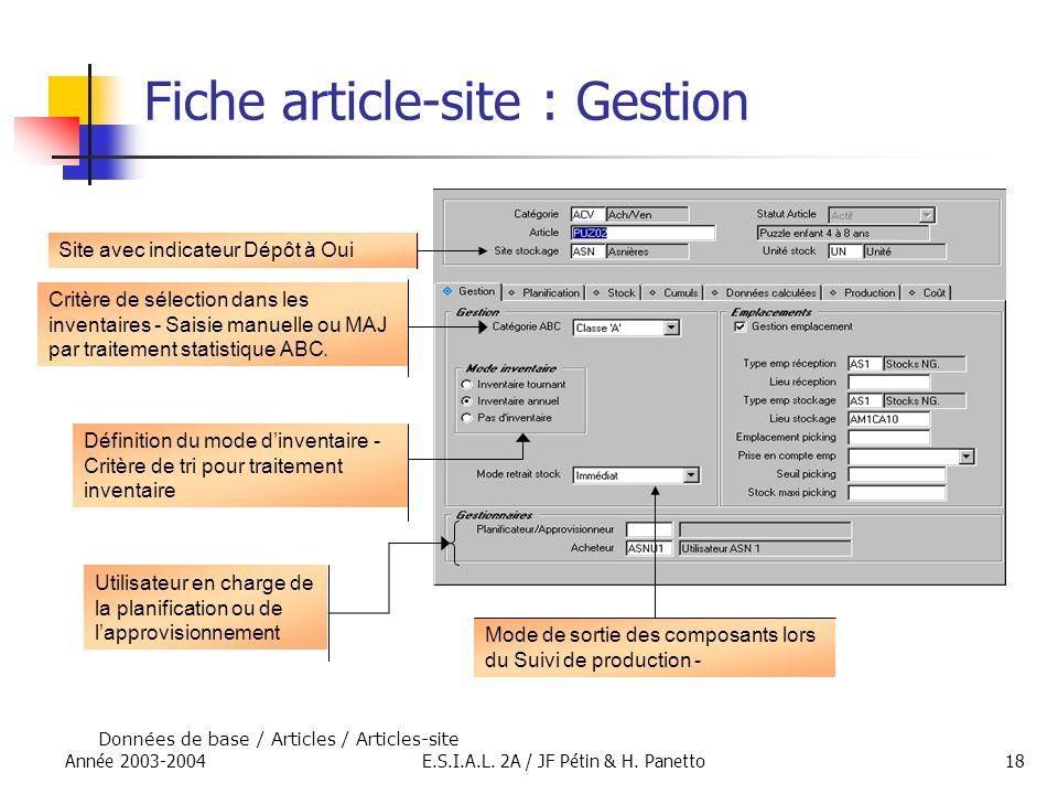 Fiche article-site : Gestion