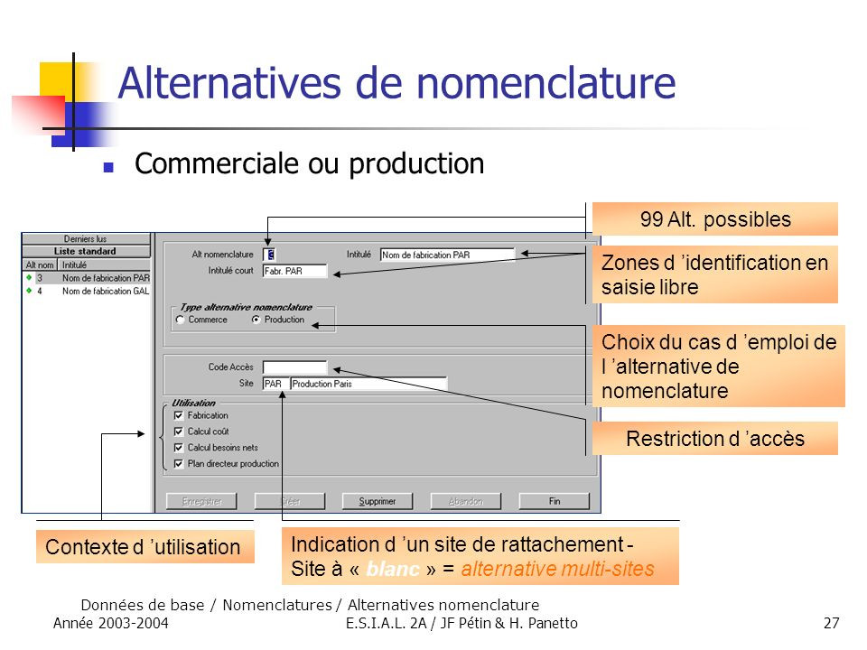 Alternatives de nomenclature