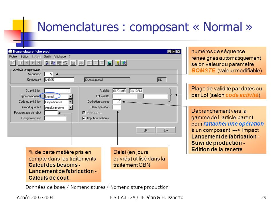 Nomenclatures : composant « Normal »