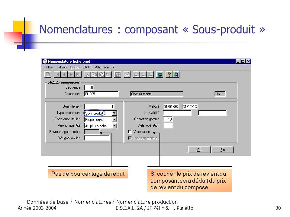 Nomenclatures : composant « Sous-produit »