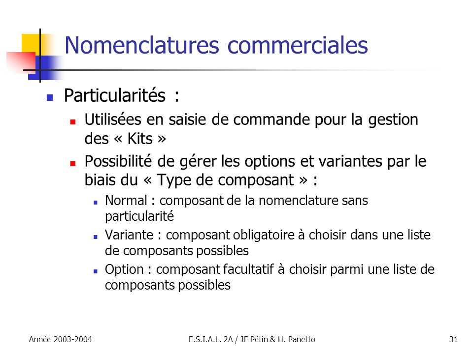 Nomenclatures commerciales