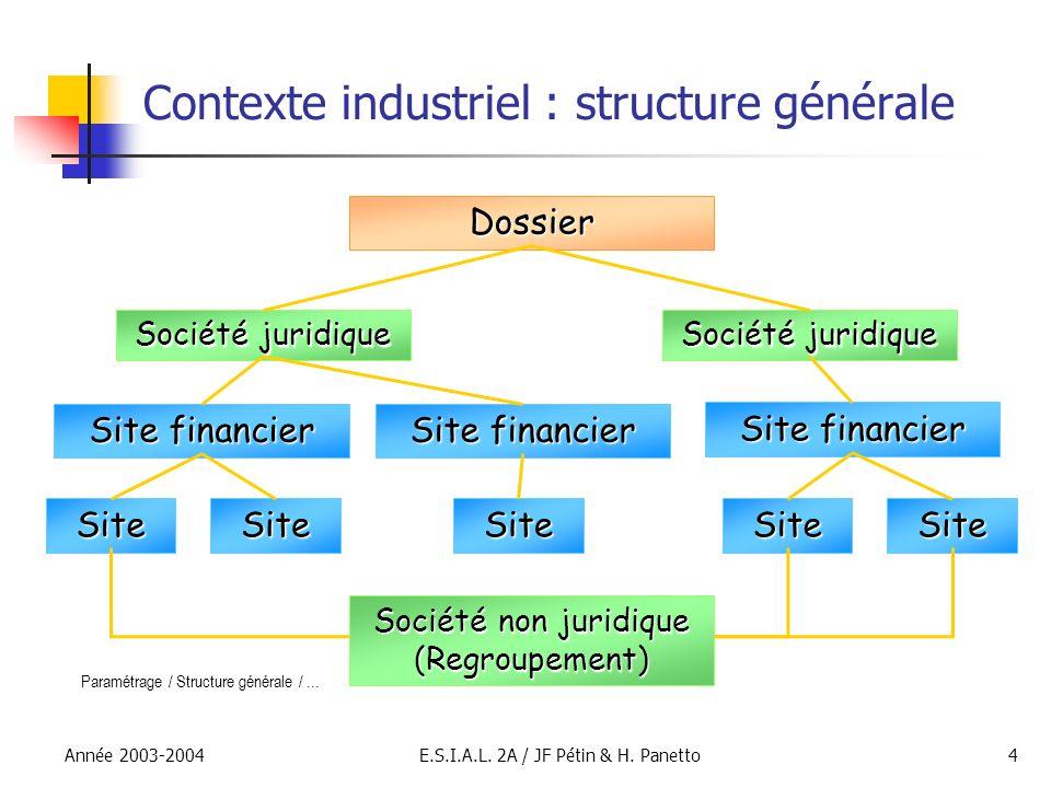 Contexte industriel : structure générale
