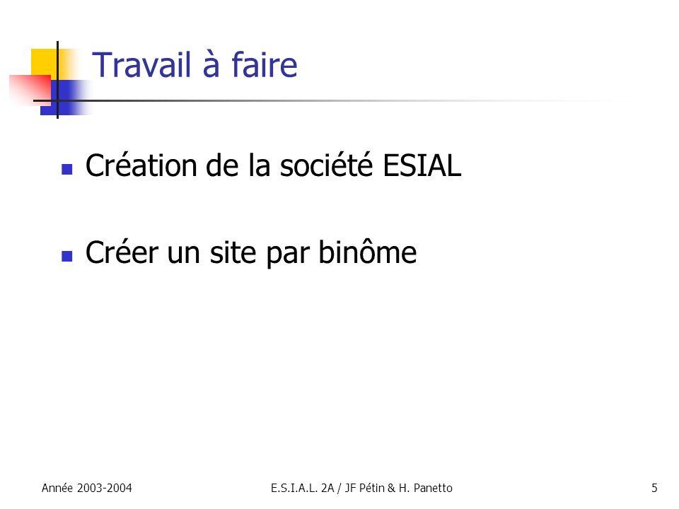E.S.I.A.L. 2A / JF Pétin & H. Panetto