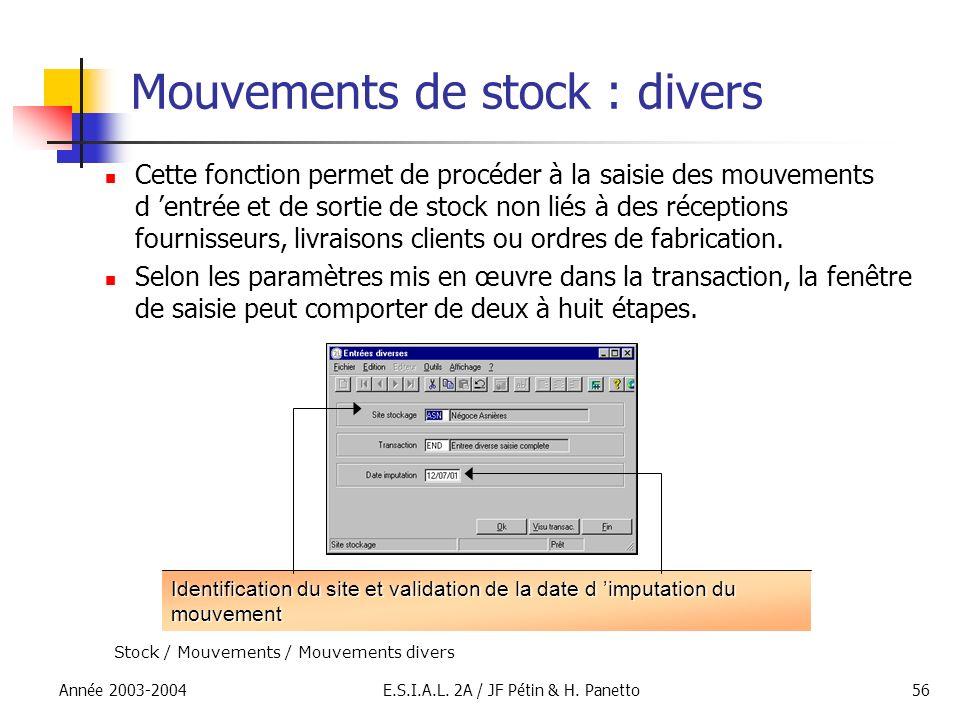 Mouvements de stock : divers