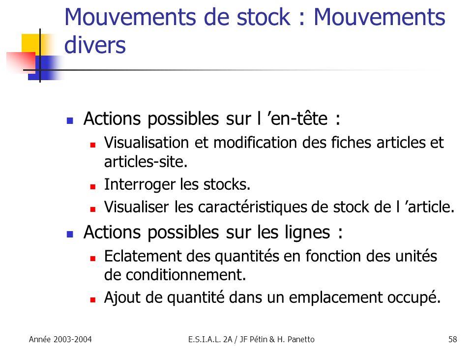 Mouvements de stock : Mouvements divers