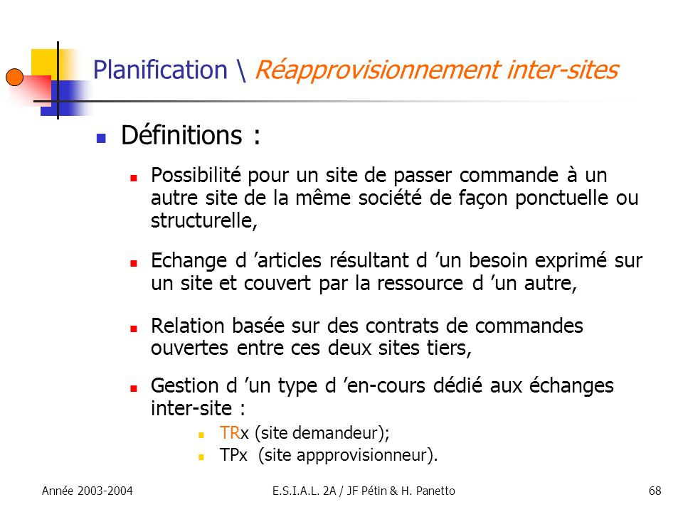 Planification \ Réapprovisionnement inter-sites
