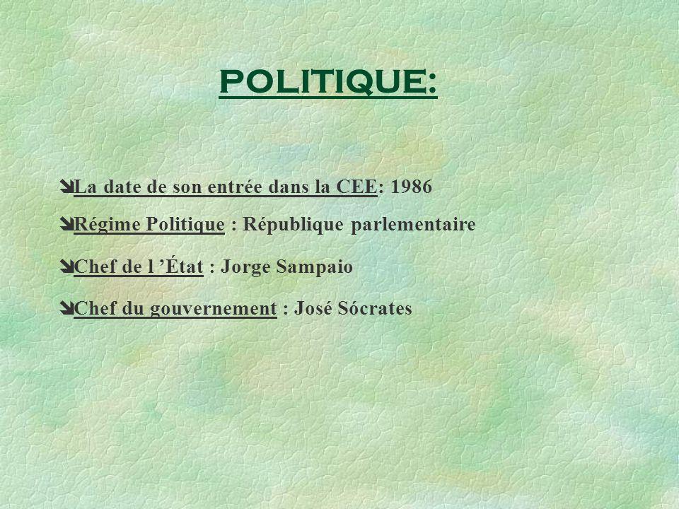 POLITIQUE: La date de son entrée dans la CEE: 1986