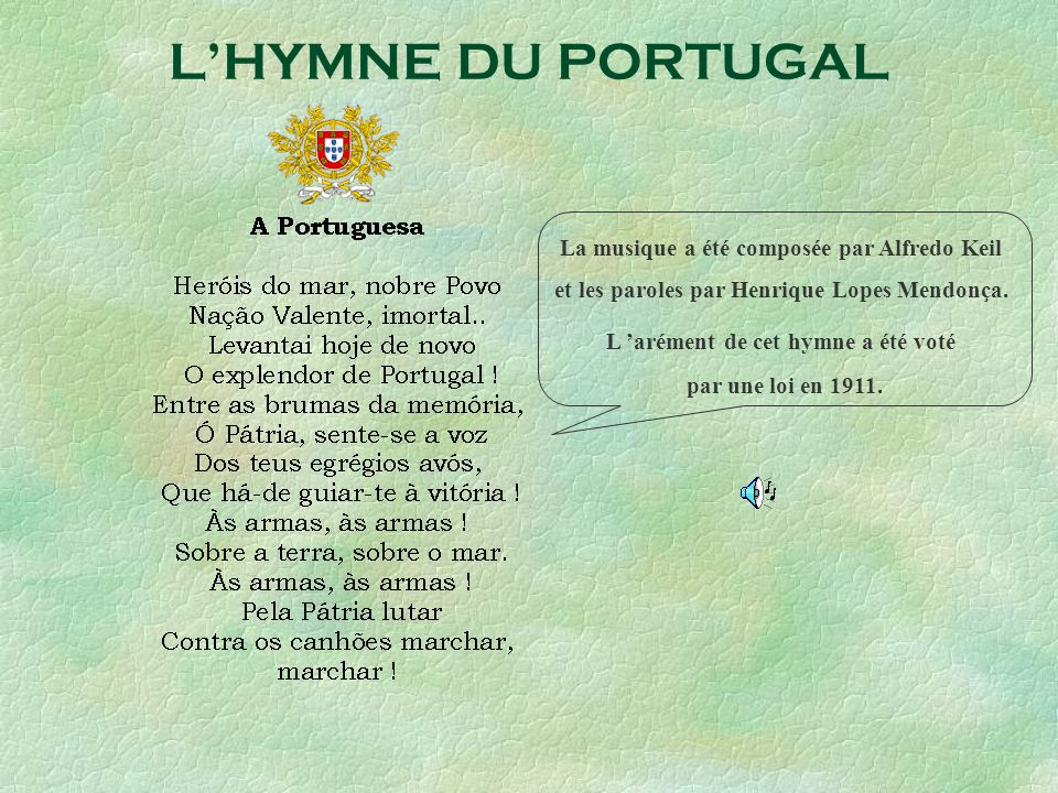 L'HYMNE DU PORTUGAL La musique a été composée par Alfredo Keil