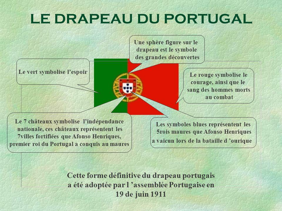 LE DRAPEAU DU PORTUGAL Une sphère figure sur le. drapeau est le symbole. des grandes découvertes.